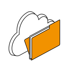 cloud storage with file folder icon image vector image vector image