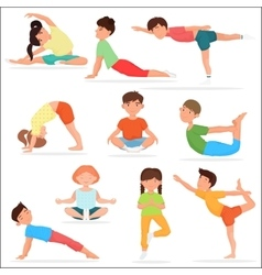 Cute yoga kids set Children yoga gymnastics vector image vector image