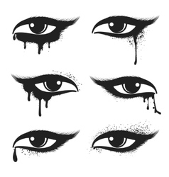 Eyes with black drops and smudges vector image vector image