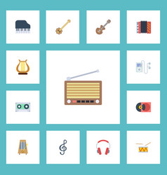 flat icons lyre earphone acoustic and other vector image vector image