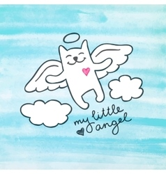 hand drawn cat angel vector image vector image