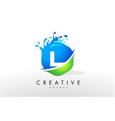 L letter logo blue green splash design vector