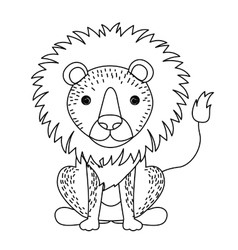 lion cute wildlife icon vector image vector image