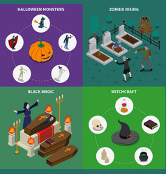 monster halloween icon set vector image