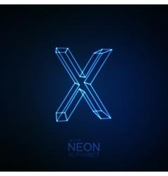 Neon 3d letter x vector