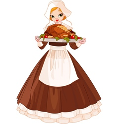 Pilgrim girl with plate vector image