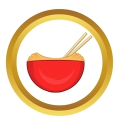 Red bowl of rice with pair icon vector