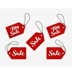 Red tag with the words sale shopping logo or icon vector