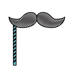 Scribble booth prop moustache cartoon vector