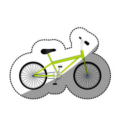 Sticker silhouette of sport green bike in white vector