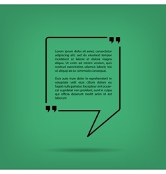 Text quote bubble in a square green background vector
