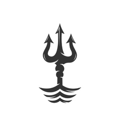Trident on the waves logo vector image