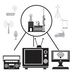 tv radio internet transmission signal vector image vector image