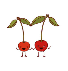 white background with pair of cherry fruits vector image vector image