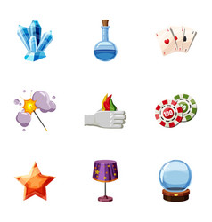 Wizard stuff icons set cartoon style vector