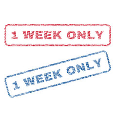 1 week only textile stamps vector image vector image