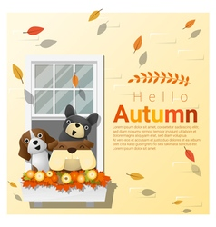 Hello autumn background with dogs vector
