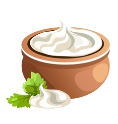Clay pot with white cream vector