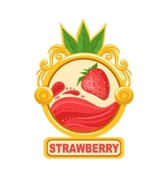Strawberry bright color jam label sticker template vector