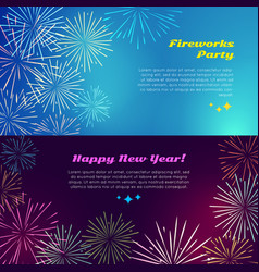 Happy new year fireworks party salute elements vector
