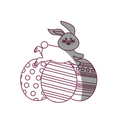 figure decorated eggs easter and rabbit running vector image