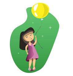 Cute girl with balloons vector
