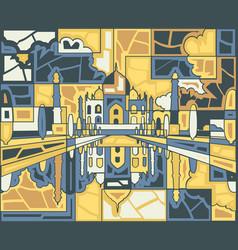 taj mahal mosaic vector image