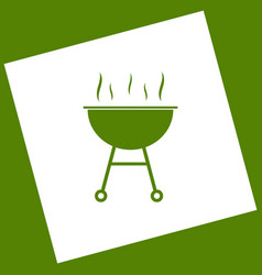 Barbecue simple sign  white icon obtained vector