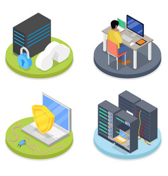 isometric system administrator server room vector image