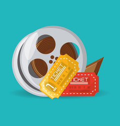 Reel filmstrip with tickets to short film vector