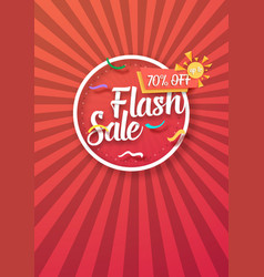 Flash sale poster with sunburs lines on vector