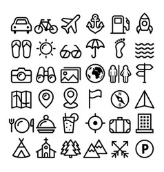 travel line icons set holidays transportation vector image