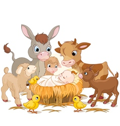 Holy child with animals vector