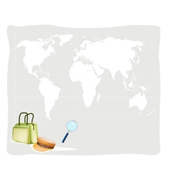 Travel suitcase and hat on world map background vector