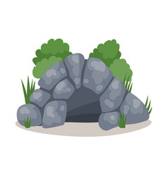 Stone cave cavemans dwelling colorful vector