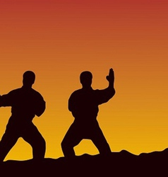 Men are engaged in karate on a yellow background vector