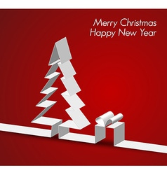 Merry christmas card made from paper stripe vector
