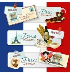 Paris touristic banners vector