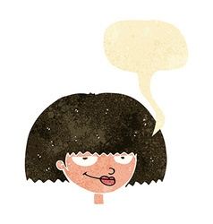 Cartoon mean female face with speech bubble vector