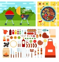 Picknic with grill on summer day vector