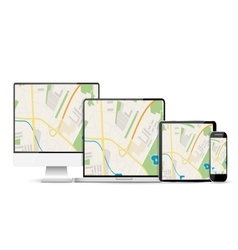 Gps abstract generic city map with roads vector