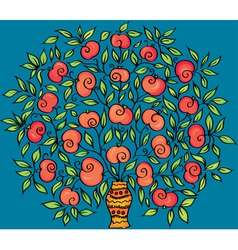 Apple twig in a vase vector