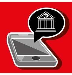 Smartphone and bank isolated icon design vector