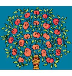 Apple twig in a vase vector image vector image