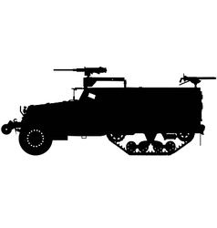 Armoured halftrack silhouette vector