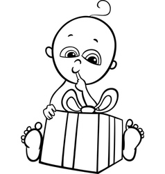 baby boy with gift for coloring book vector image