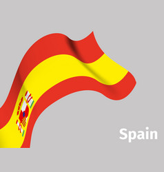 background with spain wavy flag vector image