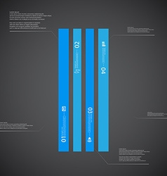 Bar template consists of four blue parts on dark vector