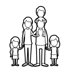 caricature thick contour faceless group family vector image