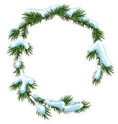 Christmas frame spruce branches in snow vector image vector image